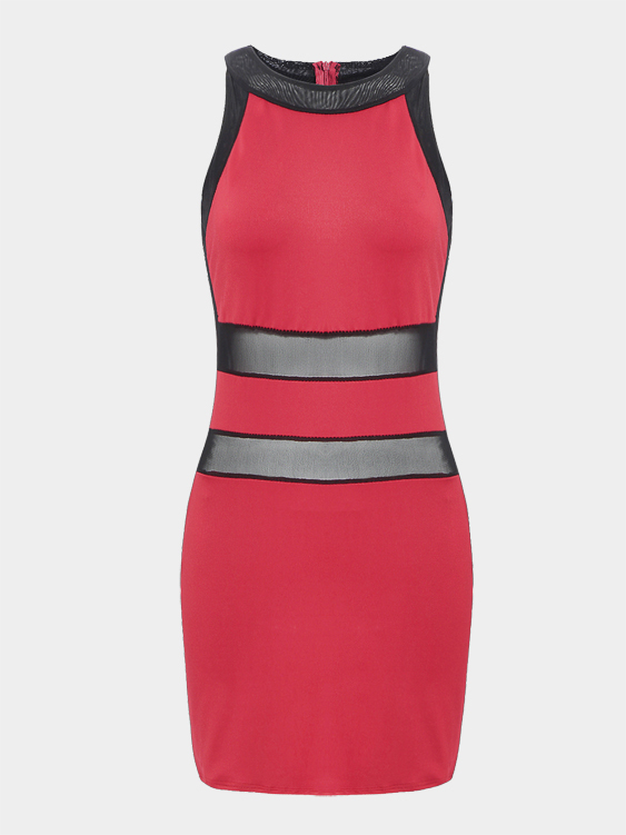 Patchwork Bodycon Dress with Mesh Detailing in Red