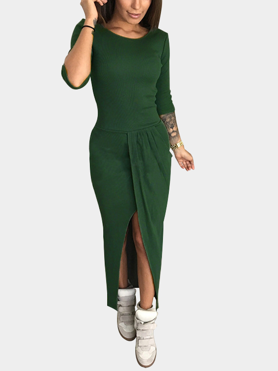 Blackish Green Pleated Design 3/4 Length Sleeeves Slit Maxi Dress drawstring cocoon jersey maxi dress