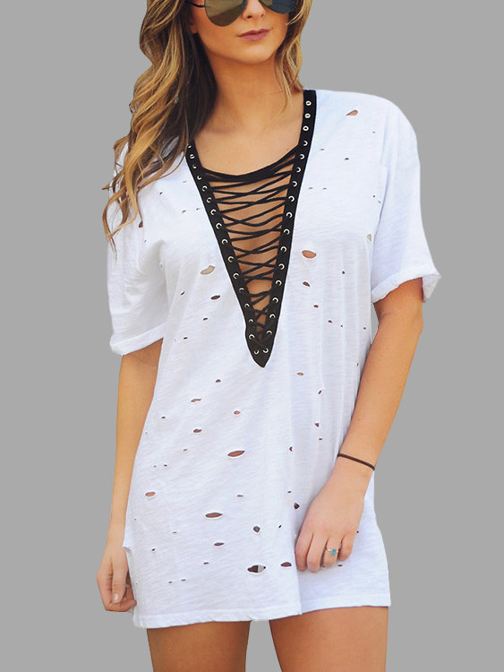 White Lace-up Design Rips Details Mini Dress