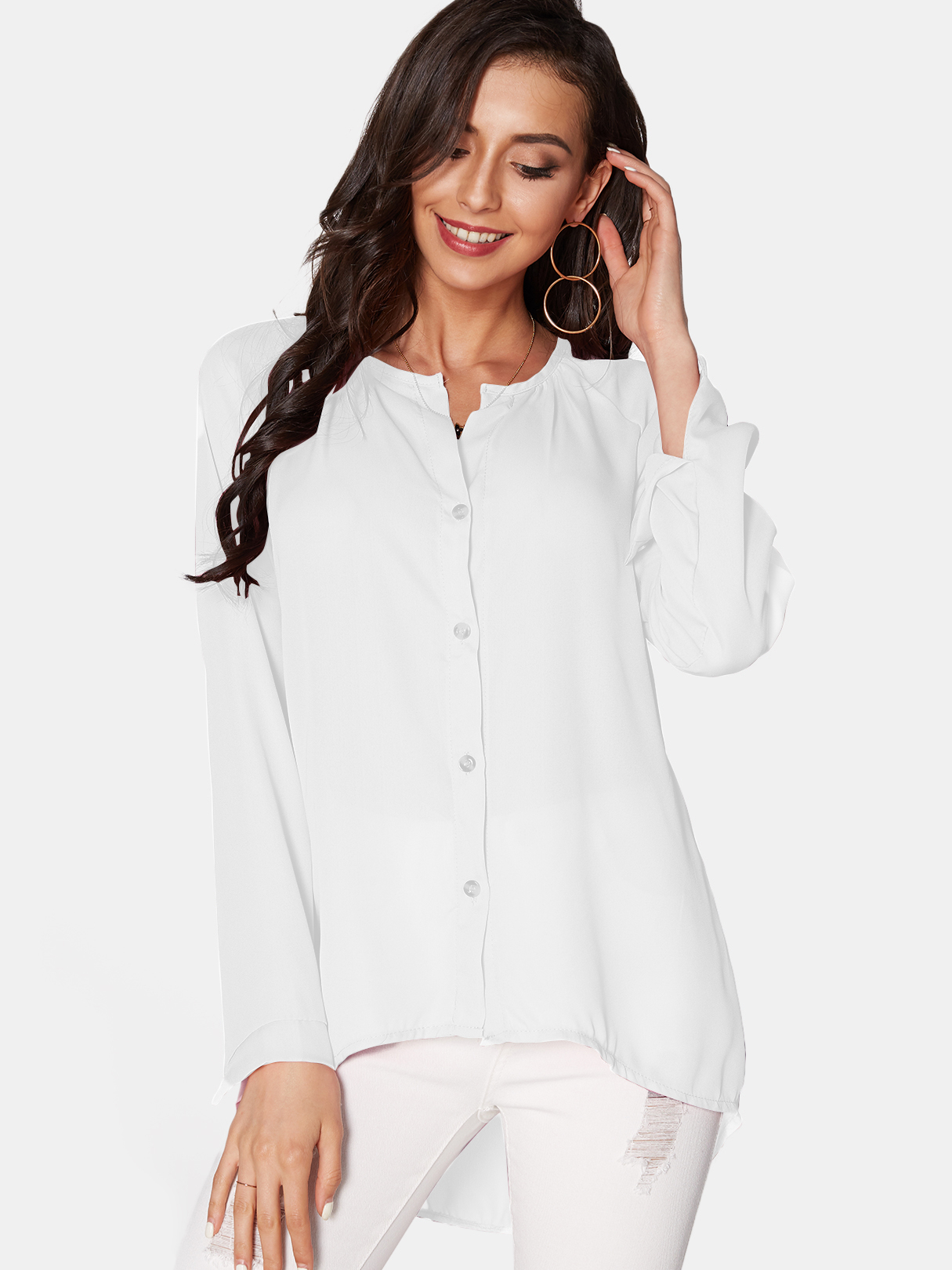 White Cozy V-neck Long Sleeves Button-down Chiffon Blouse купить недорого в Москве