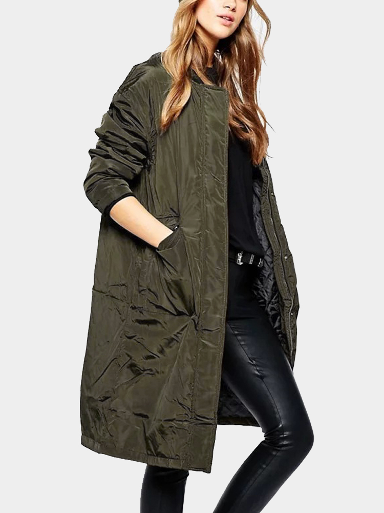 Army Green Minimalism Stand Collar Loose Padded Outerwear