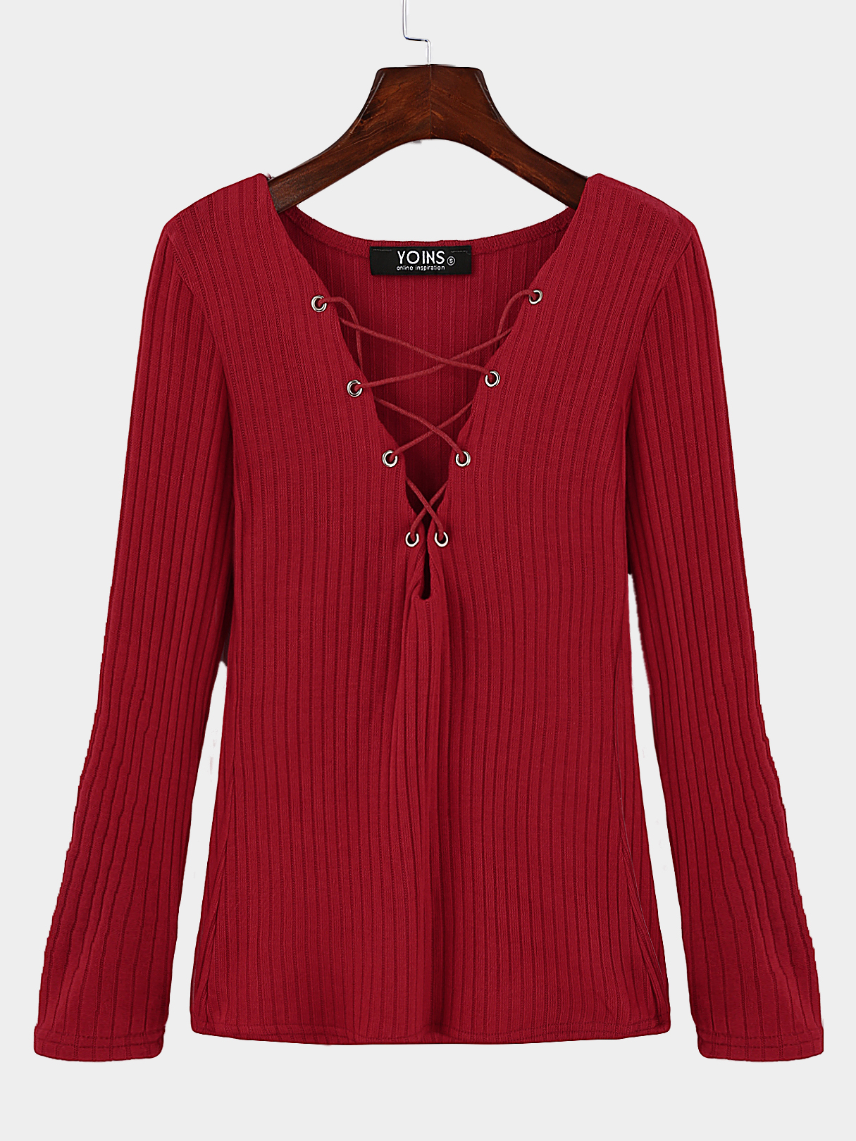 Red Plunge Lace-up Knit Sweater with Long Sleeves