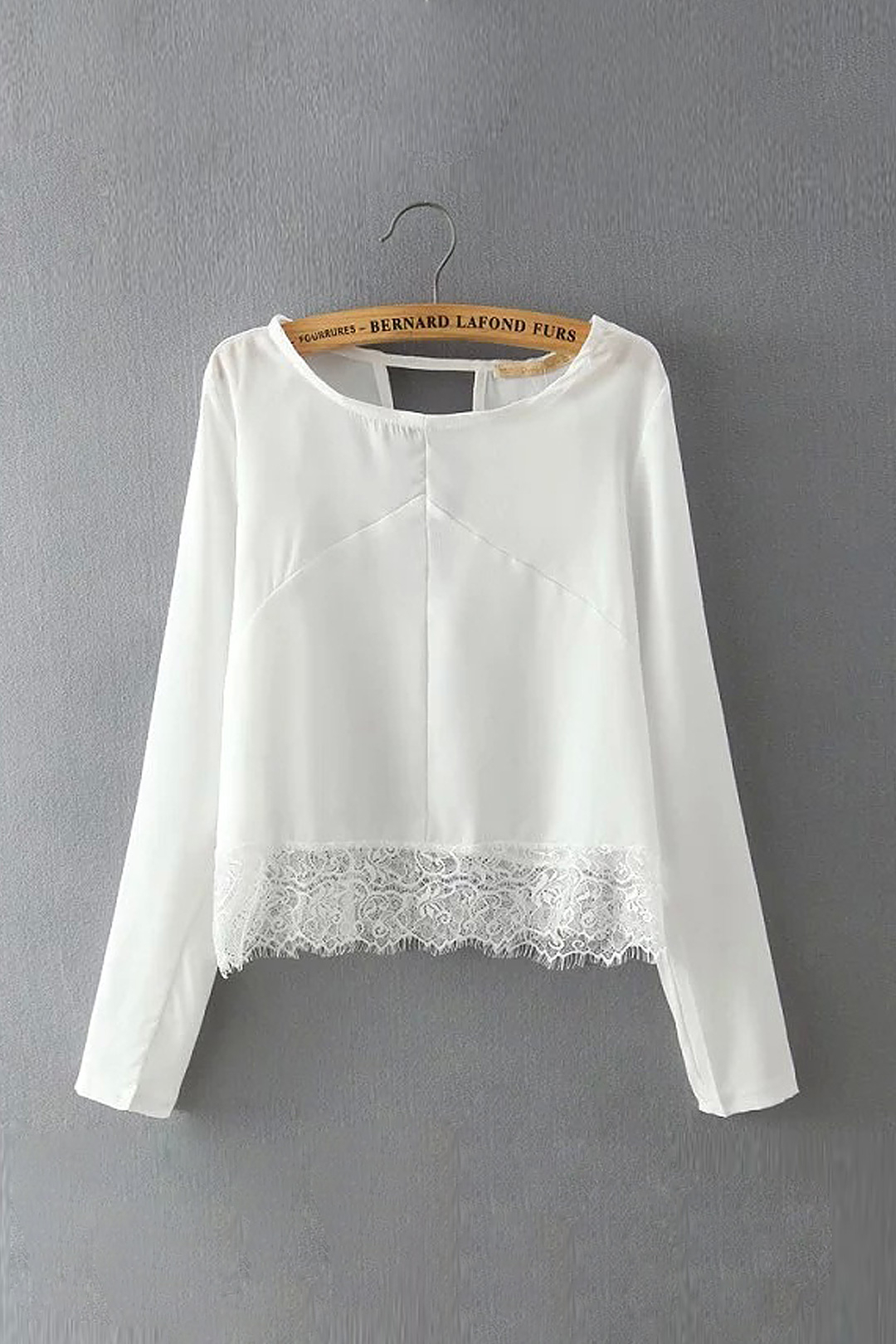 White Long Sleeve Top with Lace Hem