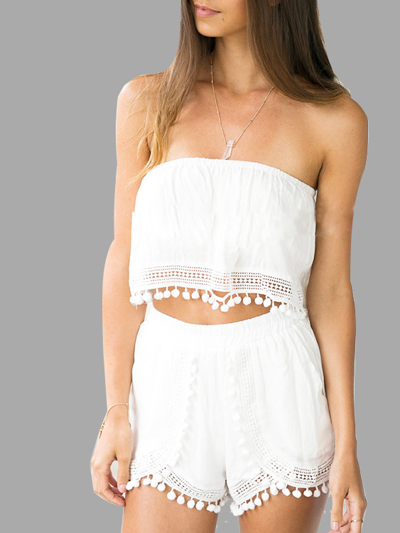 White Sheer Pom Pom Shorts Co-ord semi sheer printing pattern shorts with pom pom trim