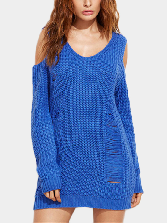 Blue Ripped Details V-neck Long Sleeves Sweater blue v neck long sleeves plunge jumper
