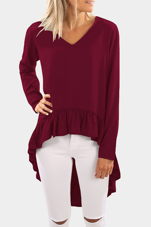 Burgundy V Neck Long Sleeves Flounced Hem Fashion Top burgundy cozy v neck long sleeves longline top