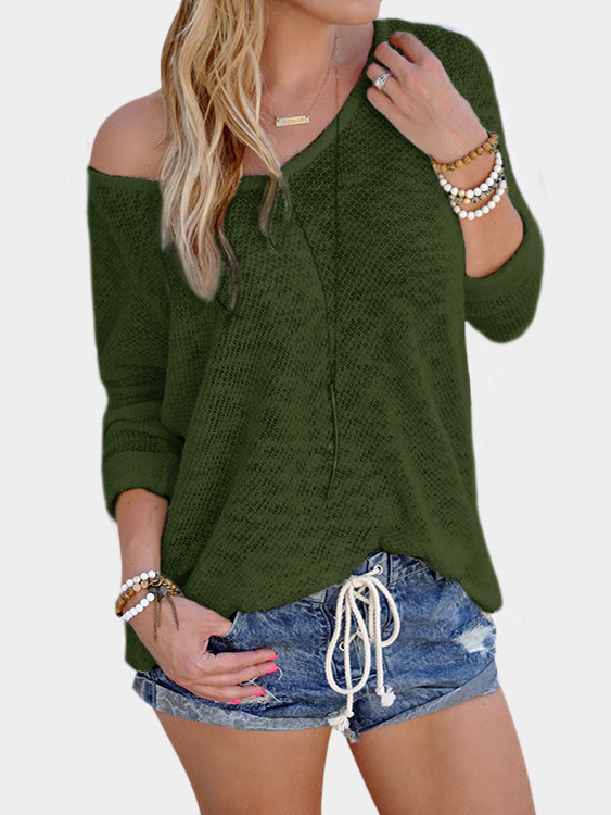 Army Green Sexy V Neck Long Sleeves Knitted T-shirt army green casual deep v neck long sleeves pure t shirt
