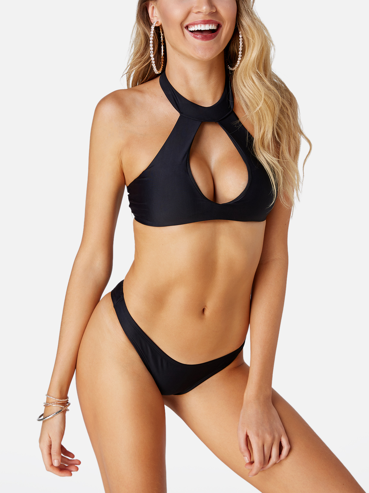 Black Sexy Cut Out Halter Backless Low-waisted Swimwear black halter cut out design backless swimwear