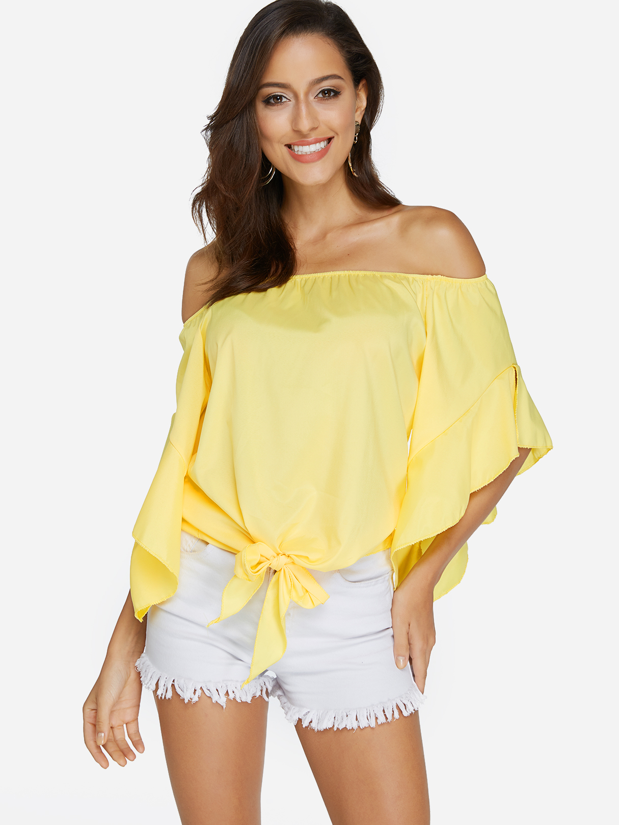 где купить Yellow Lace-up Design Off The Shoulder Bell Sleeves Blouse дешево