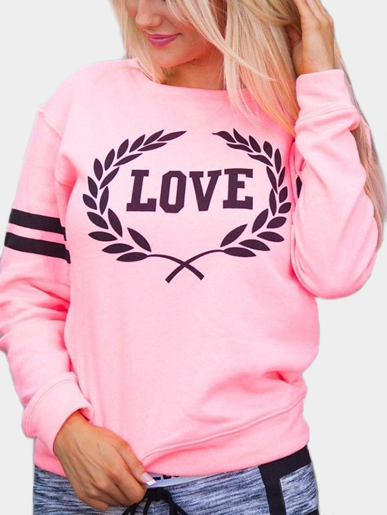 Pink Letter Pattern Round Neck Long Sleeves Sweatshirts grey letter pattern long sleeves loose sweatshirts
