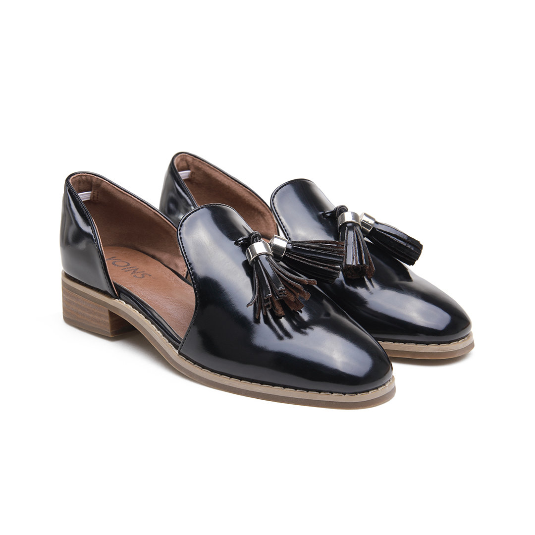 Black Leather Look Round Toe Tassel Cut-out Slip-on Loafers