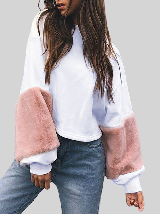 Pink Round Neck Plush Sleeves Loose Sweatshirts