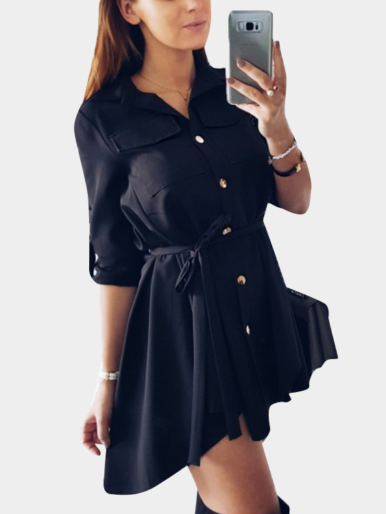 Black Basic Collar Lace-up Design Single Breasted Button Long Sleeves Shirt Dress купить недорого в Москве