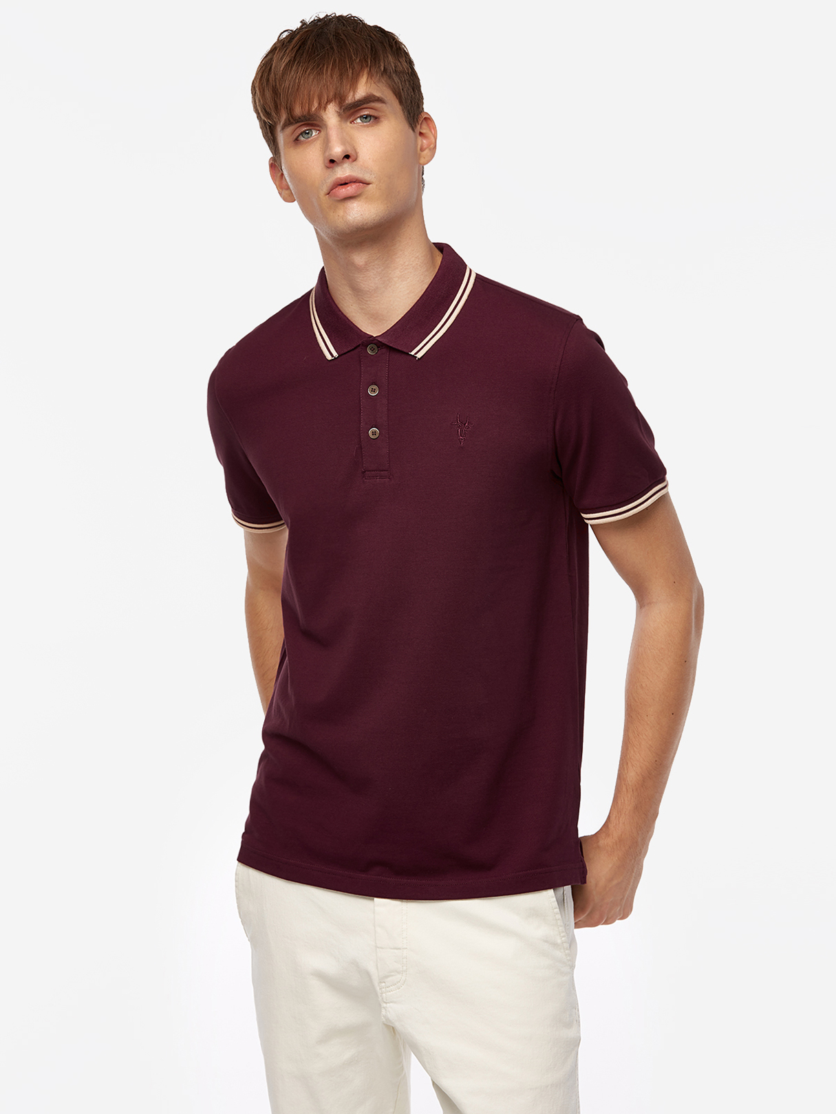 Wine Red Color Stripes Three Buttons Short Sleeve Men's Polo Shirt dark blue color blocking three buttons short sleeve men s polo shirt