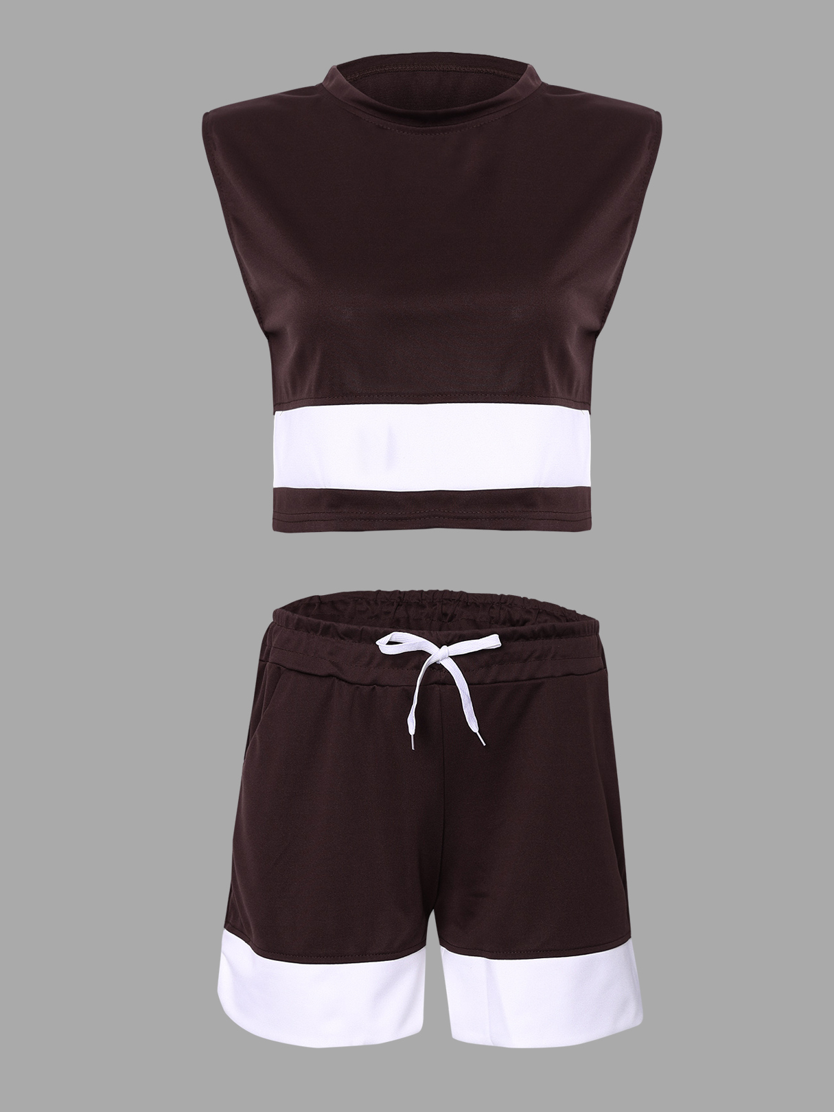 Brown Simple Sleeveless Crew Neck Crop Top & Drawstring Waist Shorts Co-ord tribe print crew neck co ord