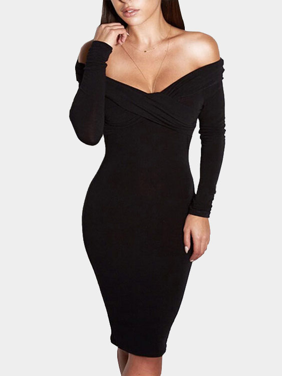Plain Black Color Off Shoulder Cross Front Midi Dress with Long Sleeves