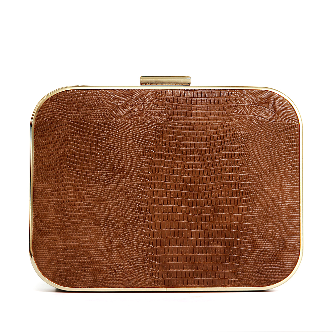 Lizard Effect Leather-look Occasion Box Clutch Bag in Brown