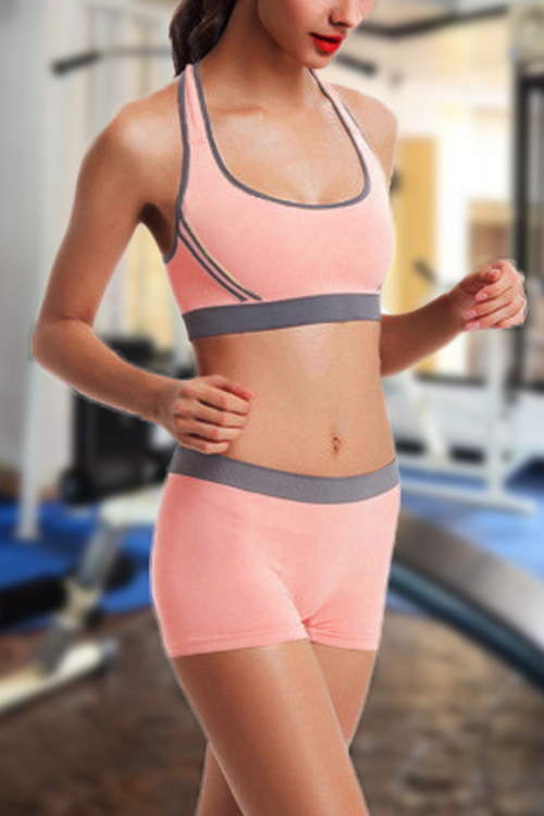 Pink Two-piece Gym Suits Sports Bra & Shorts Co-ord одежда для фитнеса beauty in my sports bra