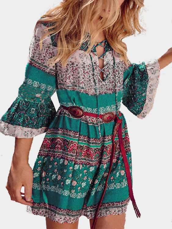 Floral Print V-neck Lace-up Front Flared Sleeves Mini Dress zip back fit and flared plaid dress