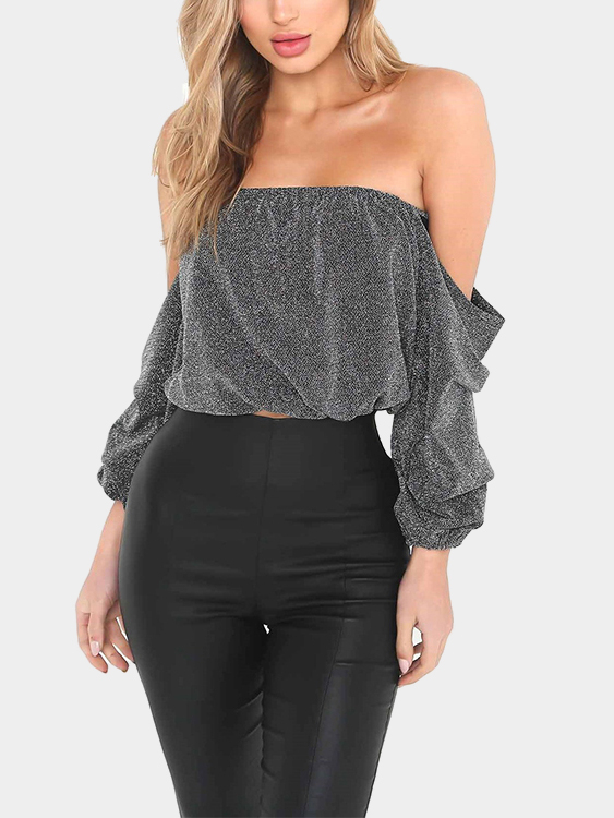 Light Grey Off-the-shoulder Top коляска трость esspero all season cream light grey