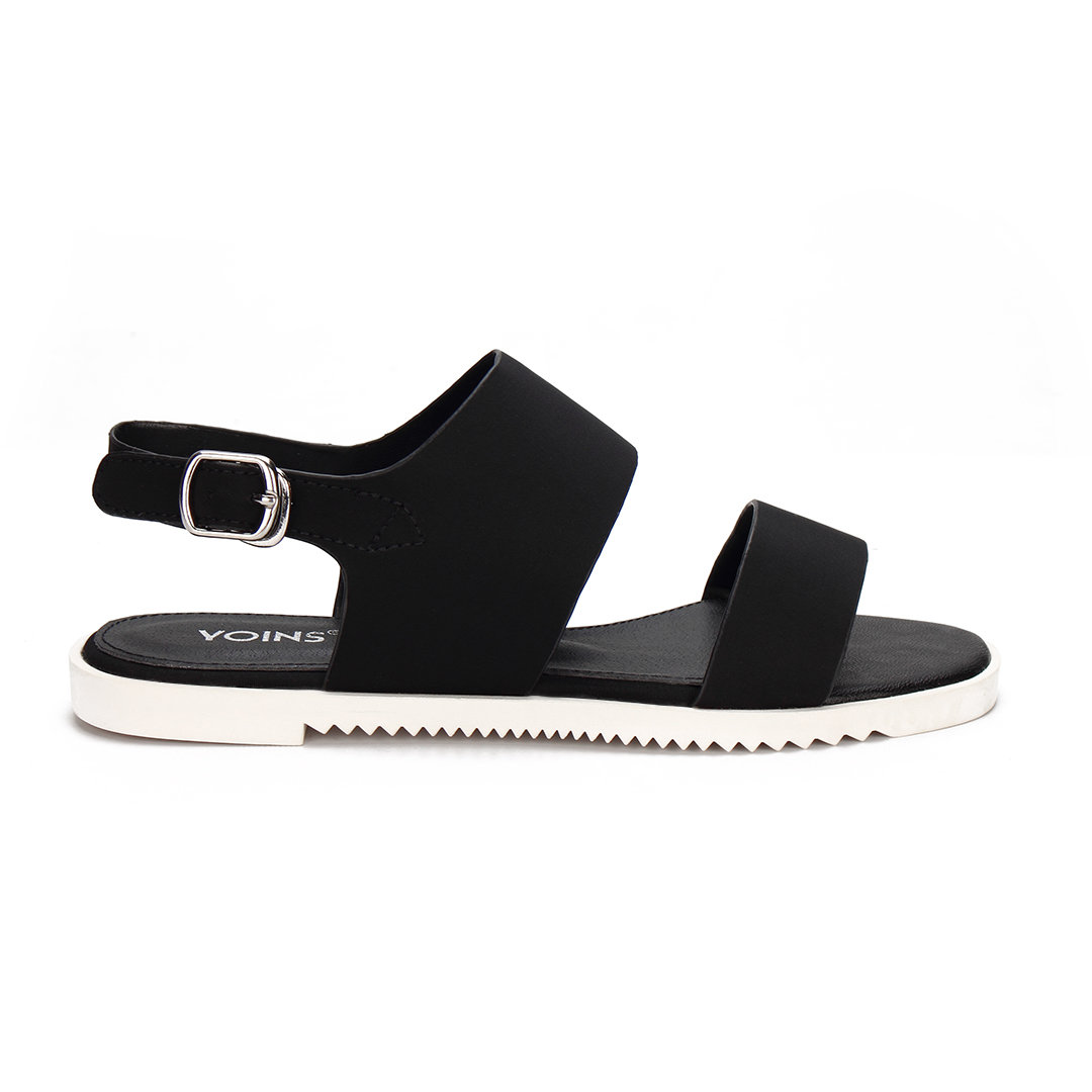 Black Leather Look Pin Buckle Ankle Strap Simple Style Flat Sandals