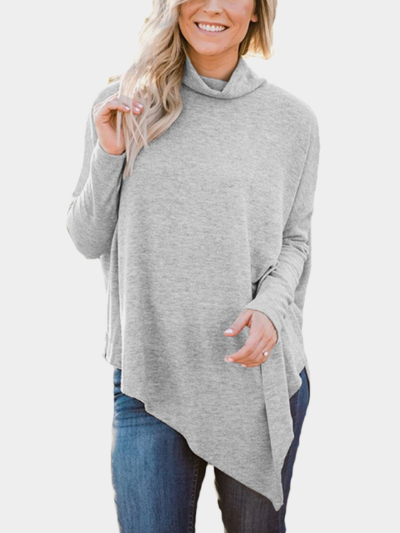 купить Grey Oversize Mock-neck Irregular Hem Asymmetrical Top недорого