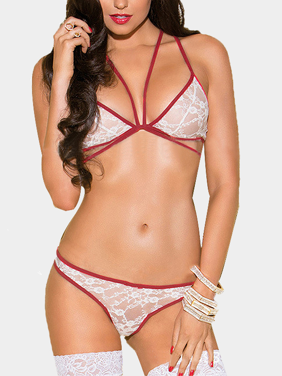 White Sexy Lace Hollow Out Lingerie Set With Red Edge