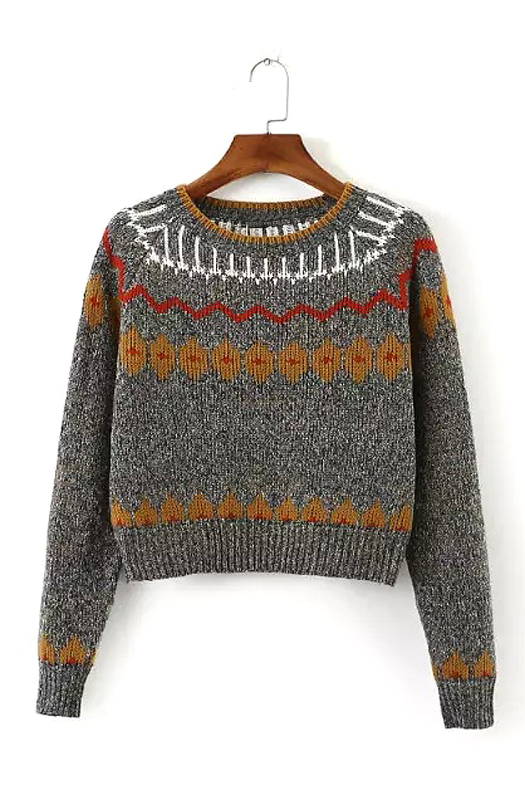 Long Sleeves Jacquard Sweater