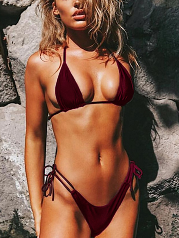 Lace-up Triangle Bikini Top & Bottoms Set in Burgundy black sequins embellished open back lace up top