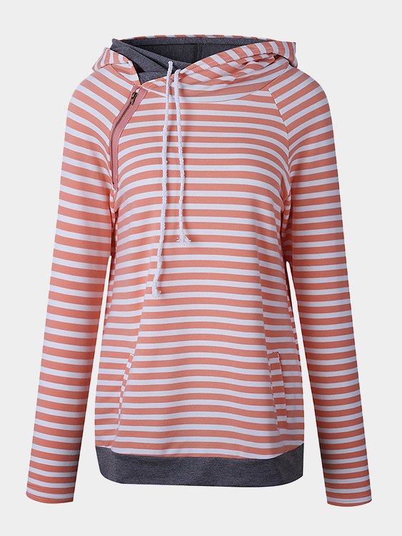 Orange Hooded Design Stripe Long Sleeves Sweatshirts etude organix тканевая маска для лица лиса 25 г