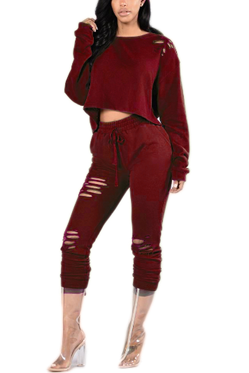 Jujube Red Casual Ripped Round Neck Drawstring Waist Long Sleeves Suit 2015 new delicious wild zizyphus jujube in shanxi 200 g red dried fruits candied jujube leisure cocktail snacks free shipping