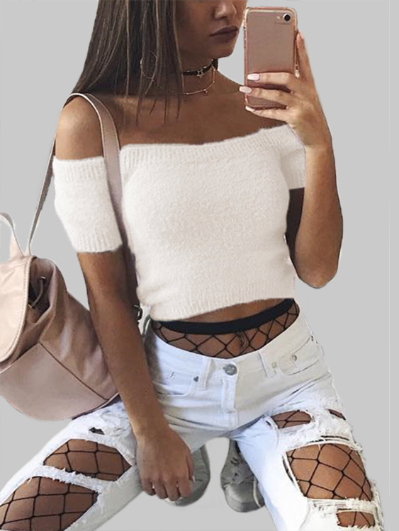 White Solid Color Off Shoulder Crop Bodycon Sweaters Vests