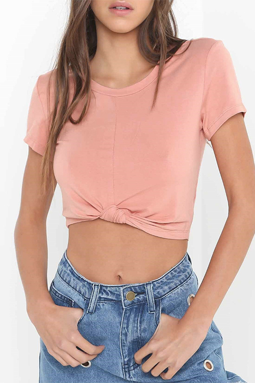 Light Pink Self-tie Crop Top T-shirt black self tie crop top t shirt