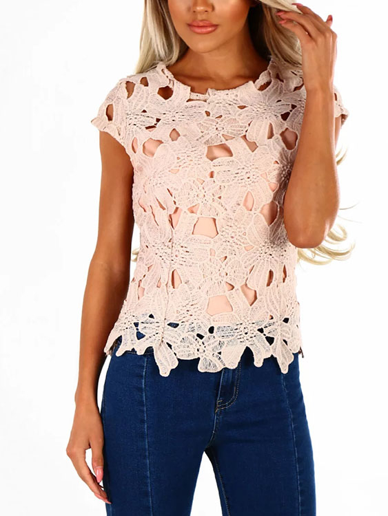 Pink Crochet Lace Round Neck Short Sleeves Sexy Top grey sexy round neck raglan sleeves hollow design top