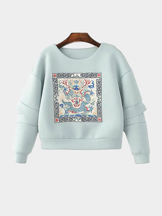 Loose Embroidery Pattern Cut Out Sweatshirt цена и фото