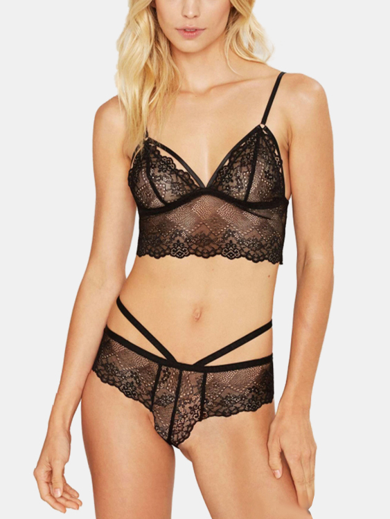 Black Sexy Lingerie Set with Lace Design sexy black lace lingerie set with no falsies