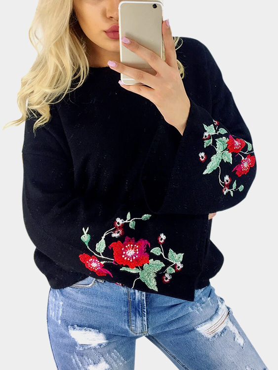 Black Embroidery Pattern Round Neck Bell Sleeves Jumper a three dimensional embroidery of flowers trees and fruits chinese embroidery handmade art design book