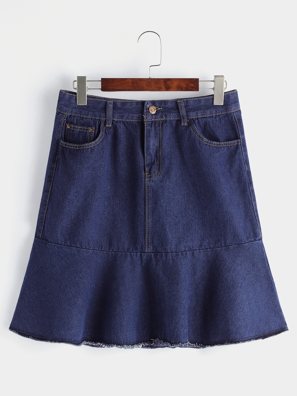 Navy Flounced Hem Denim Mini Skirt монитор benq gl2450hm
