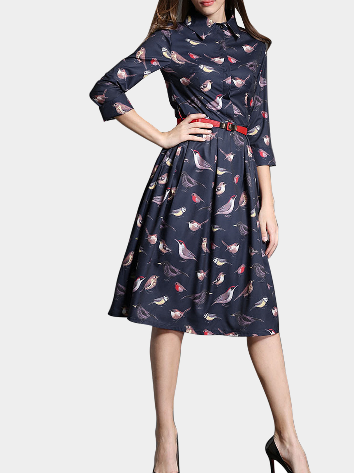 Royal Blue Bird Print Shirt Dress with Red Belt