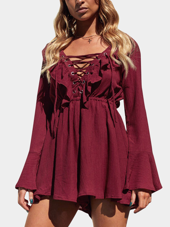 Burgundy Criss-cross Front Open Back Flared Sleeves Playsuits zip back fit and flared plaid dress