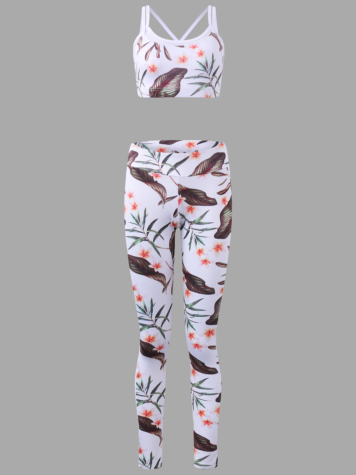 Active Random Floral Print Stitching Design Tracksuit in White купить