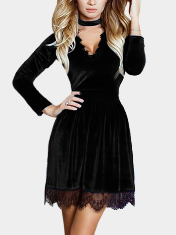 Black Lace Details Deep V-neck Long Sleeves Velvet Dress yeduo black sexy lady lace mask for masquerade halloween party fancy dress costume