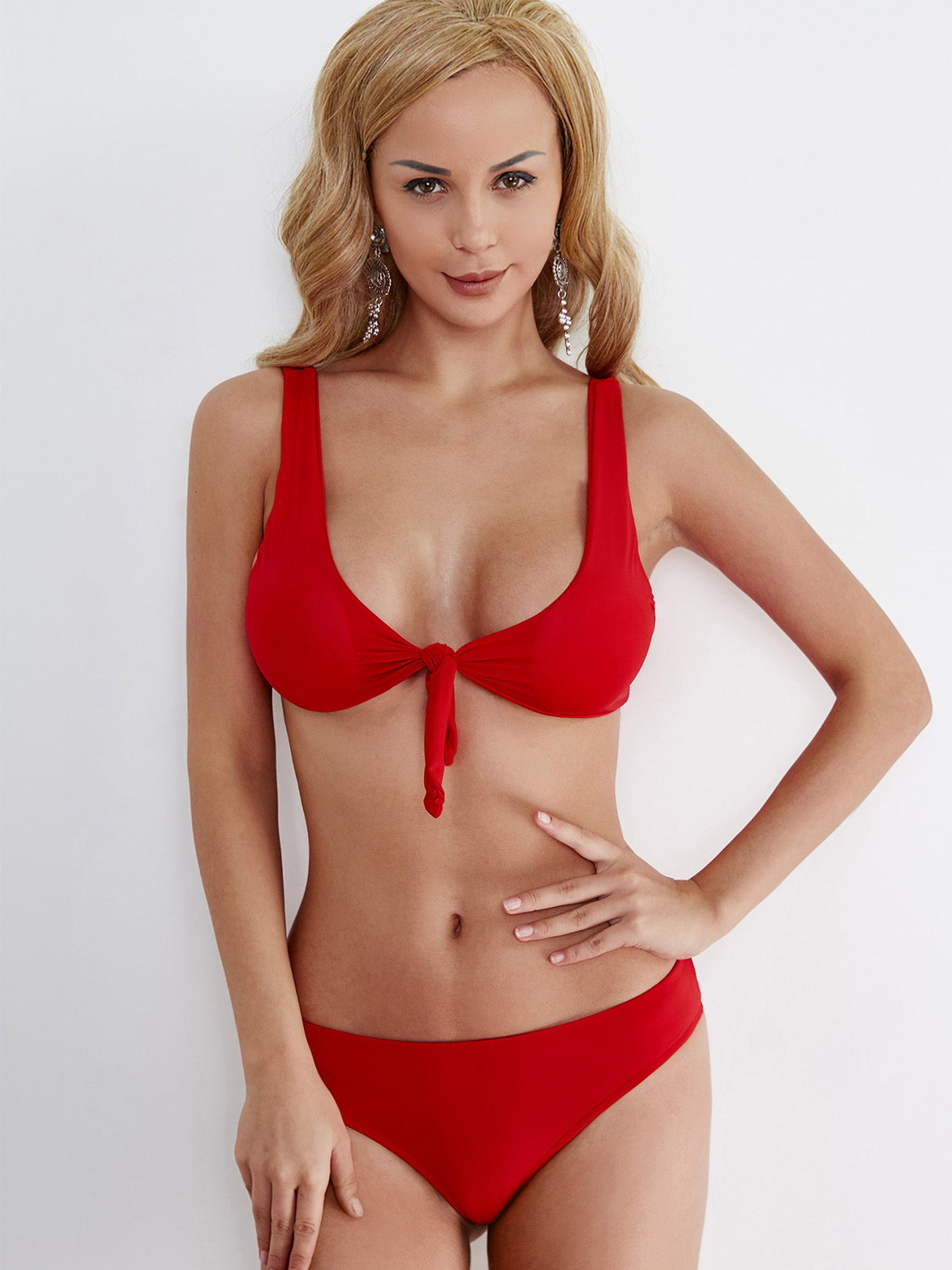 Knot at Front Two-piece Bikinis Set in Red south shore 3 piece bookcase set in pure white
