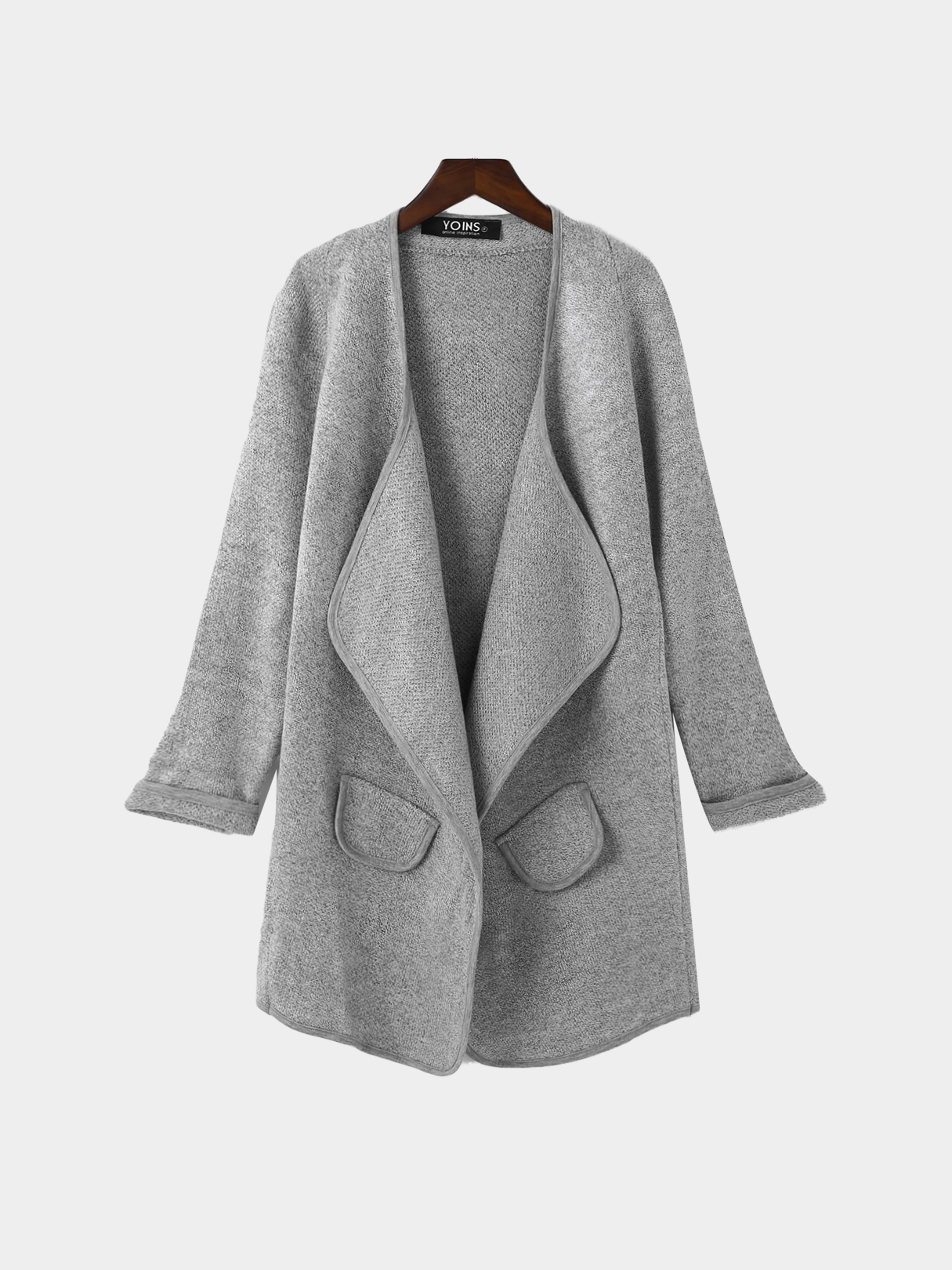 Grey Knit Long Length Cardigan with Pockets grey two side pockets long sleeves outerwear