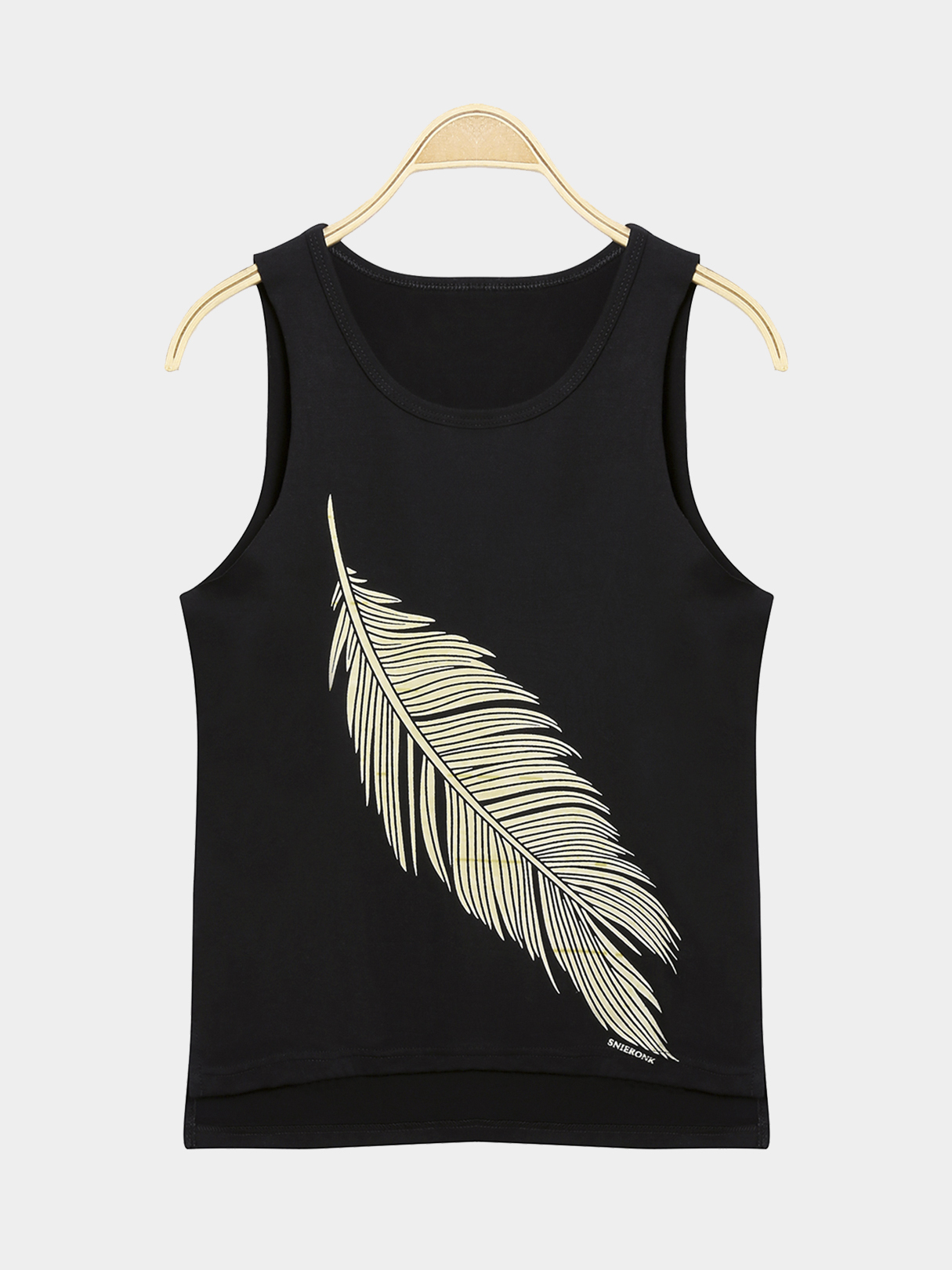 Basic Style Round Neck Vest with Feather Pattern