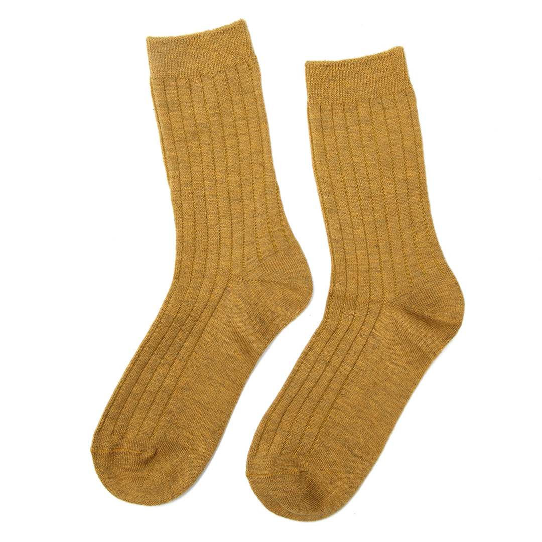 Mustard Yellow Casual Ribbed Ankle Socks