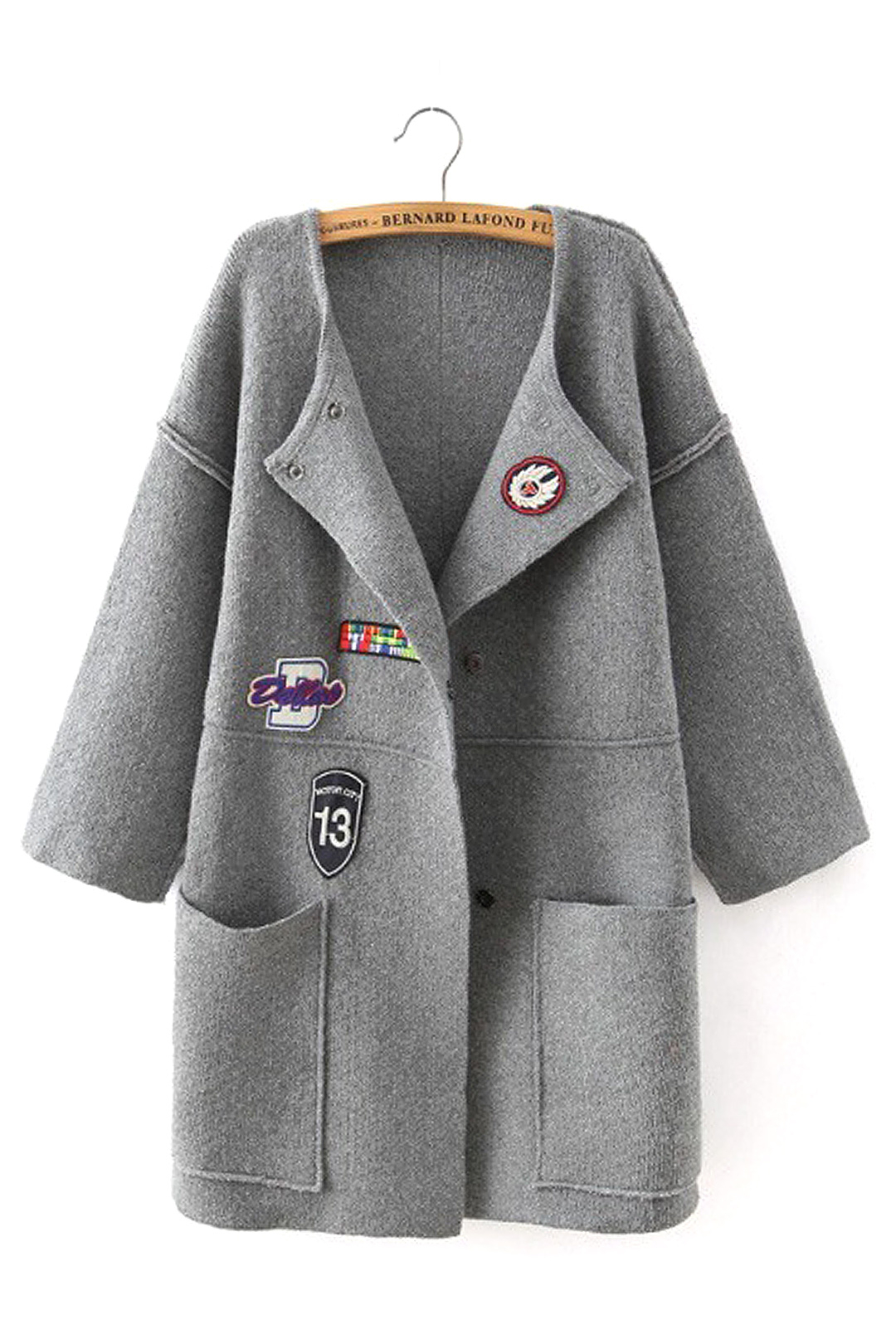Gray Drop-shoulder Coat with Patch Pattern Detail
