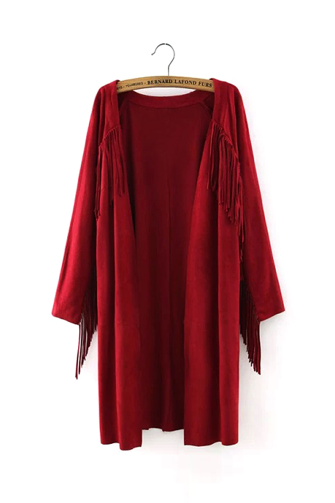 Red Suede Duster Coat with Fringing