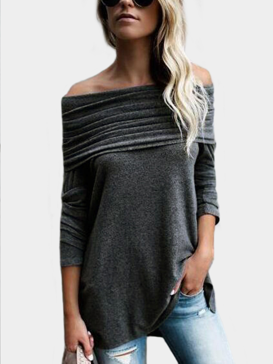 Grey Flap Over Detail Off Shoulder Irregular Hem T-shirt