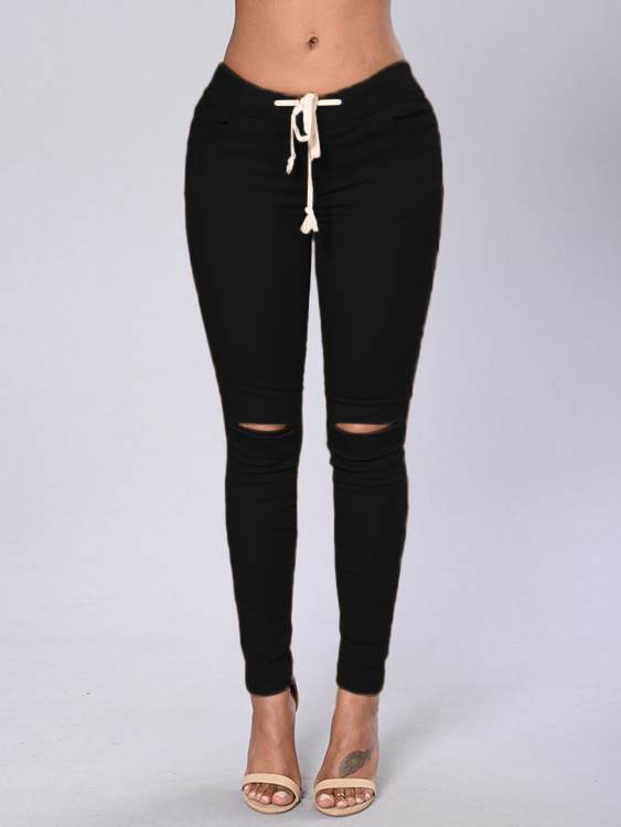 Black Mid-rise Cutout Design Bodycon Pencil Pants